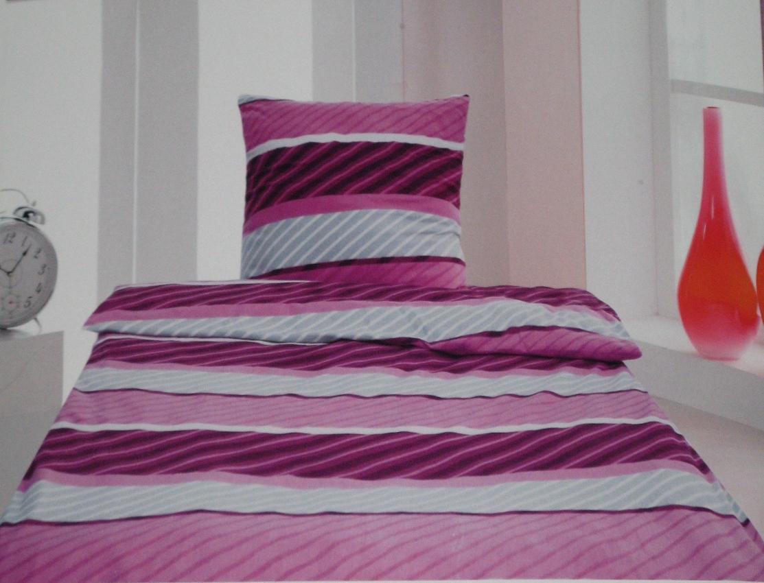 edelflanell microfaser bettw sche flanell 2 tlg 155x220 streifen look neu ebay. Black Bedroom Furniture Sets. Home Design Ideas