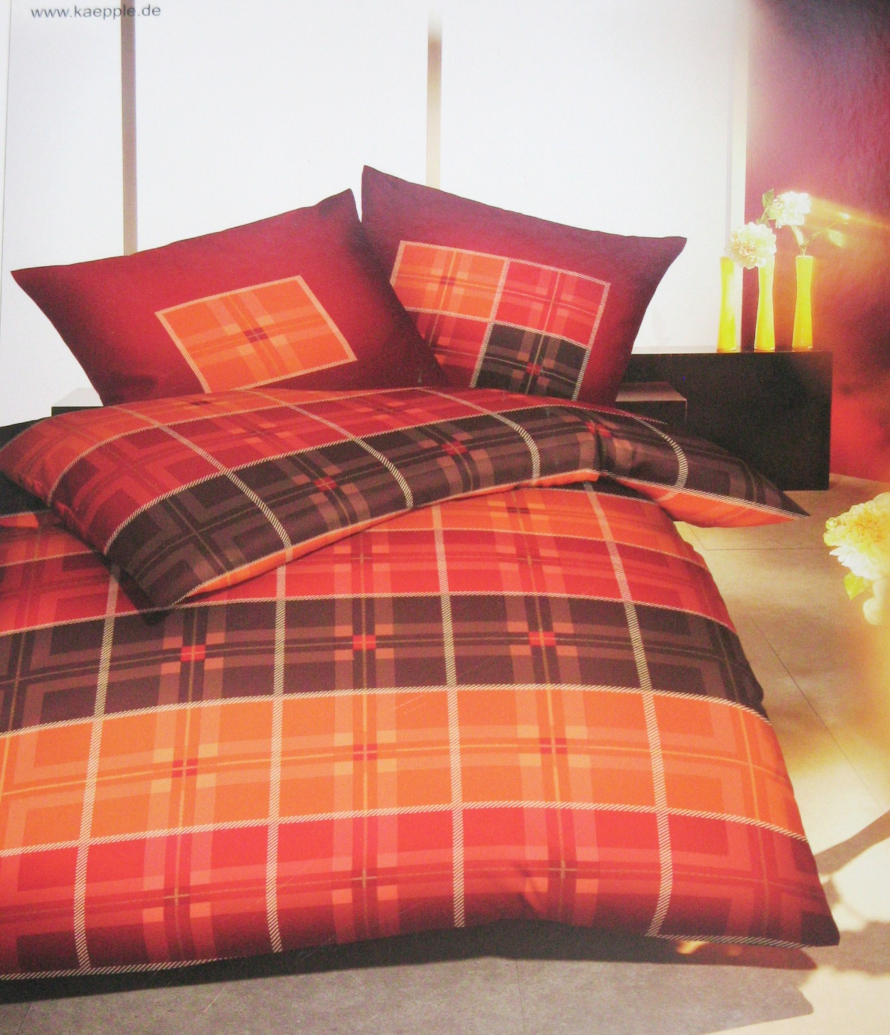 kaeppel microfaser flanell bettw sche karo look terra 2 tlg 155x220 neu. Black Bedroom Furniture Sets. Home Design Ideas