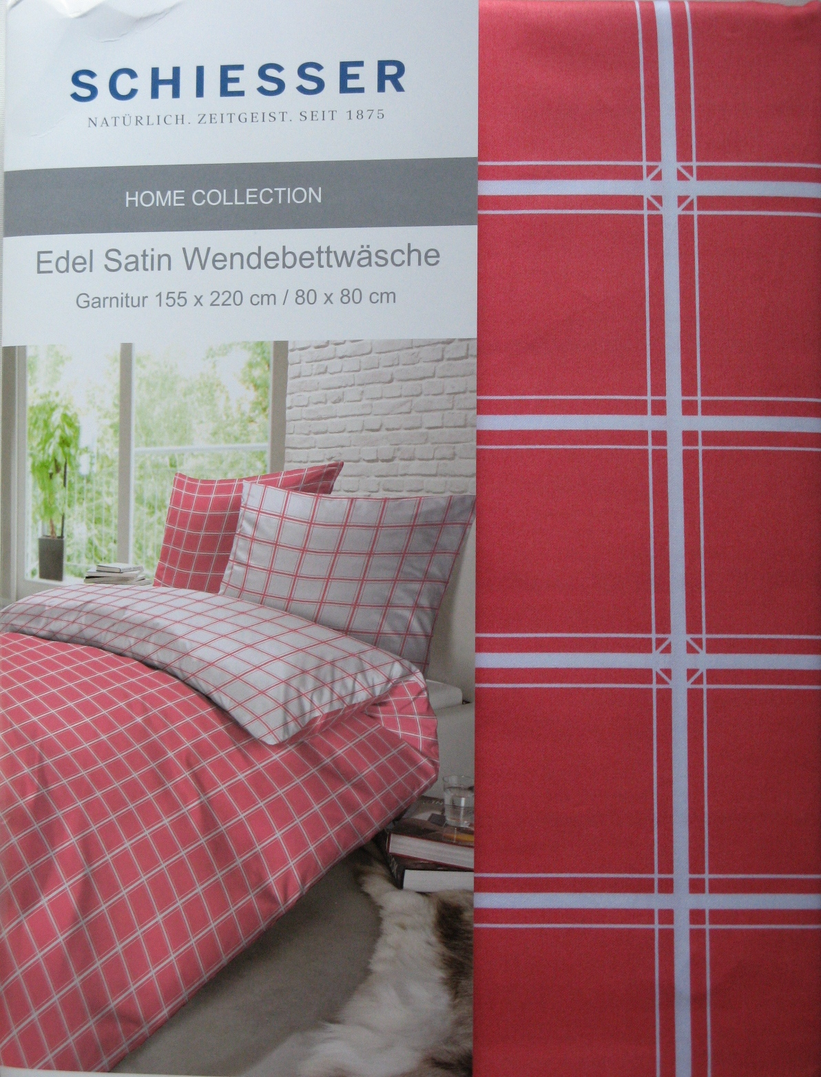 schiesser home collection edel satin bettw sche baumwolle 2 tlg 155x220 neu ebay. Black Bedroom Furniture Sets. Home Design Ideas